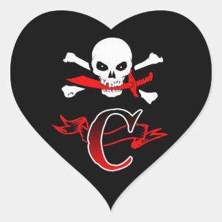 Jolly Roger C Monogram Initial Heart Sticker