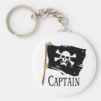 Jolly Roger Captain Basic Round Button Keychain