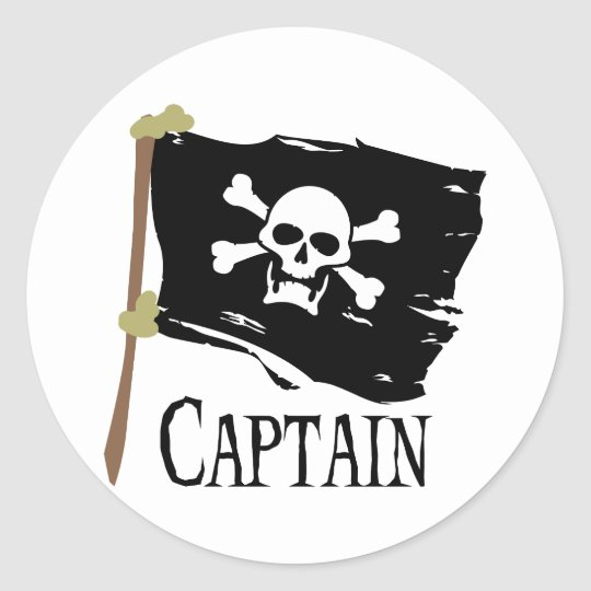 Jolly Roger Captain Classic Round Sticker