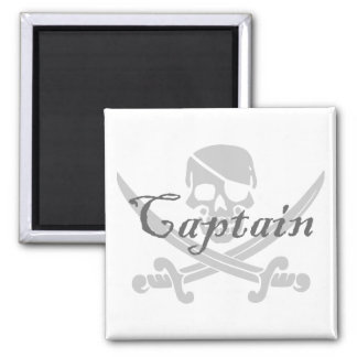 Jolly Roger Captain 2 Inch Square Magnet