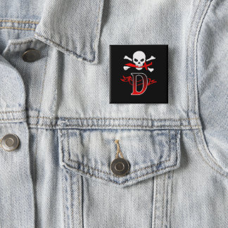Jolly Roger D Monogram Initial Button