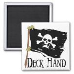 Jolly Roger Deck Hand 2 Inch Square Magnet