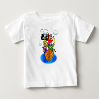 Jolly Roger Flying on Pirate Boat Bobbing on Water Baby T-Shirt