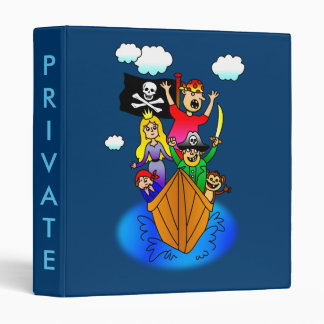 Jolly Roger Flying on Pirate Boat Bobbing on Water Binder