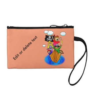 Jolly Roger Flying on Pirate Boat Bobbing on Water Change Purse