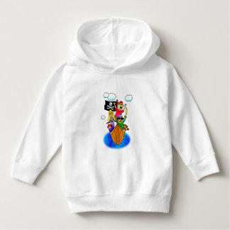 Jolly Roger Flying on Pirate Boat Bobbing on Water Hoodie