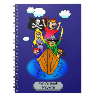 Jolly Roger Flying on Pirate Boat Bobbing on Water Notebook