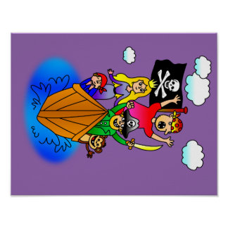 Jolly Roger Flying on Pirate Boat Bobbing on Water Poster