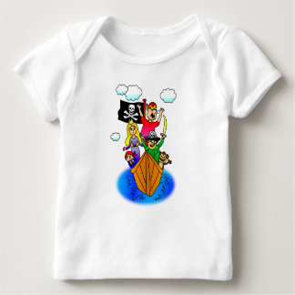 Jolly Roger Flying on Pirate Boat Bobbing on Water T-shirt
