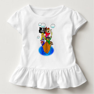 Jolly Roger Flying on Pirate Boat Bobbing on Water Toddler T-shirt