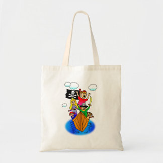 Jolly Roger Flying on Pirate Boat Bobbing on Water Tote Bag