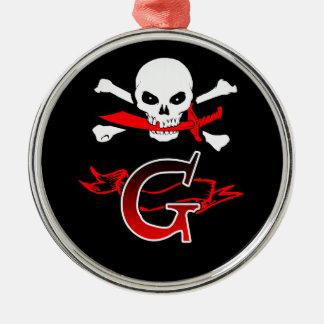 Jolly Roger G Monogram Initial Metal Ornament