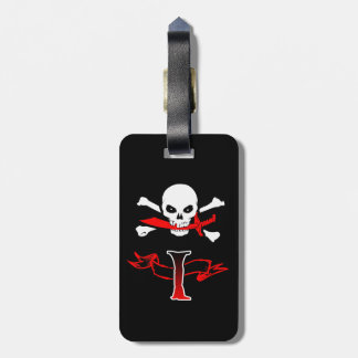 Jolly Roger I Monogram Initial Luggage Tag
