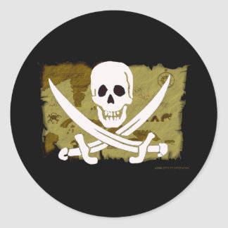 Jolly Roger Map #10 Classic Round Sticker