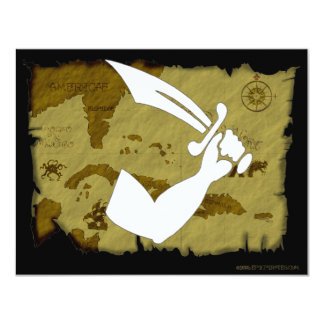 Jolly Roger Map #12 4.25x5.5 Paper Invitation Card