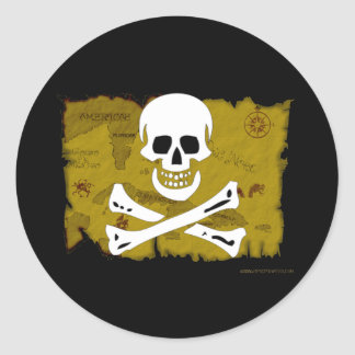 Jolly Roger Map #3 Classic Round Sticker