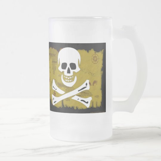 Jolly Roger Map #3 Frosted Glass Beer Mug