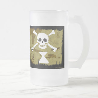 Jolly Roger Map  #9 Frosted Glass Beer Mug
