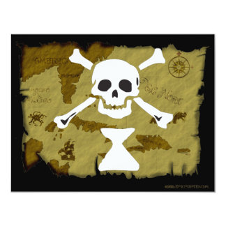 Jolly Roger Map  #9 4.25x5.5 Paper Invitation Card