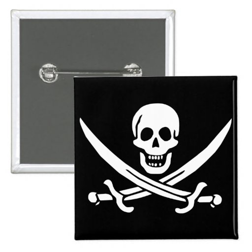 Jolly Roger of Calico Jack Rackham (BLACK) 2 Inch Square Button