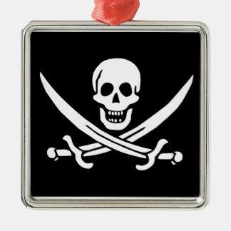 Jolly Roger of Calico Jack Rackham (BLACK) Metal Ornament