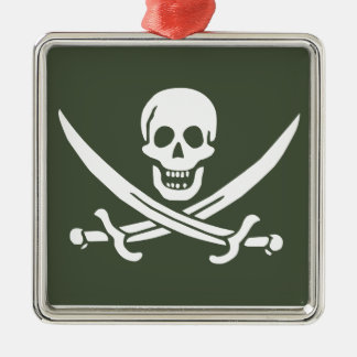 Jolly Roger of Calico Jack Rackham (Green) Metal Ornament