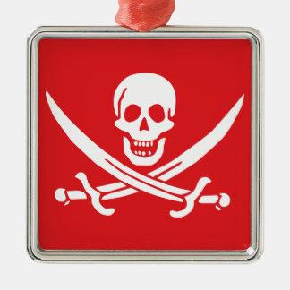 Jolly Roger of Calico Jack Rackham (RED) Metal Ornament