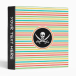 Jolly Roger on Bright Rainbow Stripes Binders