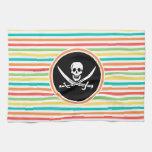Jolly Roger on Bright Rainbow Stripes Hand Towel