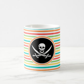 Jolly Roger on Bright Rainbow Stripes Classic White Coffee Mug