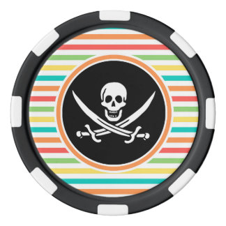 Jolly Roger on Bright Rainbow Stripes Poker Chips Set