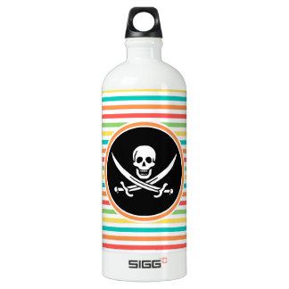 Jolly Roger on Bright Rainbow Stripes Water Bottle