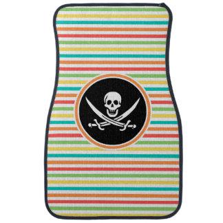 Jolly Roger on Bright Rainbow Stripes Floor Mat