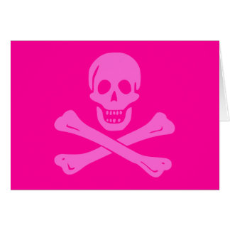 Jolly Roger Pink Greeting Card
