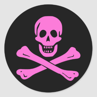 Jolly Roger Pink Classic Round Sticker