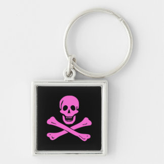 Jolly Roger Pink Silver-Colored Square Keychain