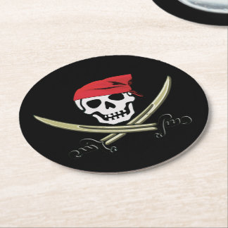 Jolly Roger Pirate Bar Paper Coasters