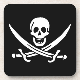 Jolly roger pirate flag coaster