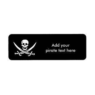 Jolly roger pirate flag label