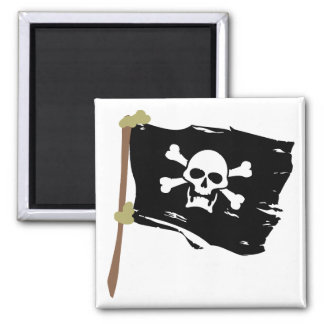 Jolly Roger Pirate Flag 2 Inch Square Magnet