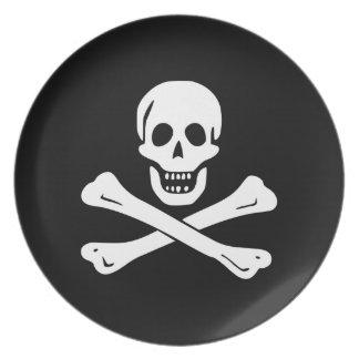 Jolly Roger Pirate Flag Melamine Plate