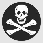 Jolly Roger Pirate Flag (pack of 6/20) Classic Round Sticker