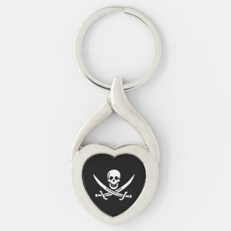 Jolly roger pirate flag Silver-Colored Heart-Shaped metal keychain