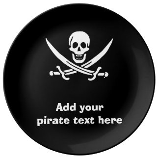 Jolly roger pirate flag porcelain plate
