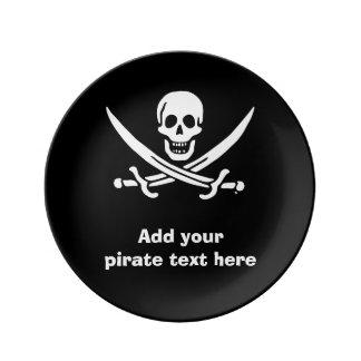 Jolly roger pirate flag porcelain plates