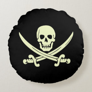 Jolly Roger Pirate Flag Round Throw Pillow