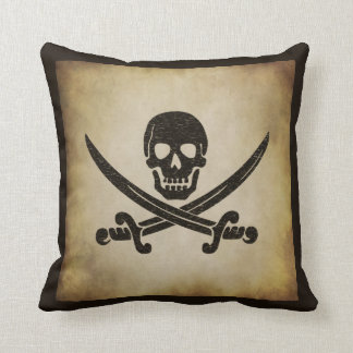 Jolly Roger Pirate Flag Throw Pillow