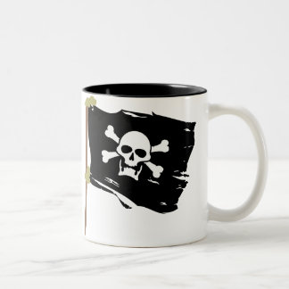 Jolly Roger Pirate Flag Two-Tone Coffee Mug