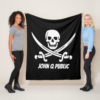 Jolly Roger Pirate Flag w/ Name Fleece Blanket