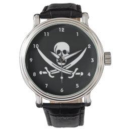 Jolly roger pirate flag wrist watch